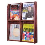 Custom 4 Pocket Full View Oak Wall Magazine Rack