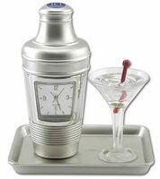 Miniature Metal Analog Martini Cocktail Clock