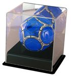 Custom Mini soccer ball display case with black base and mirror back