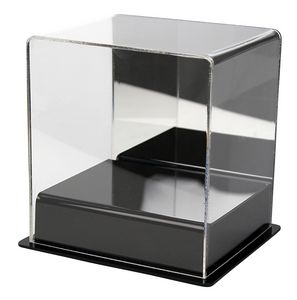 Custom Mini helmet display case with black base and mirror back