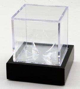 Baseball Acrylic Cube Display Case w/ Wooden Base