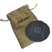 Round Slate Coaster (Single Pack) In Burlap Pouch