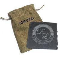 Square Slate Coaster (Single Pack) In Burlap Pouch