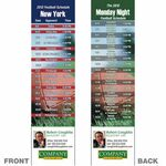 Custom New York Pro Football Schedule Bookmark (2 1/4