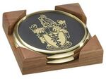 2 Round Solid Brass Coasters w/Solid Walnut Wood Square Holder