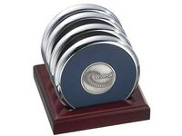 4 Round Solid Chrome Coasters w/ Solid Cherry Wood Upright Stand