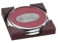 2 Round Solid Chrome Coasters w/Solid Cherry Wood Square Holder