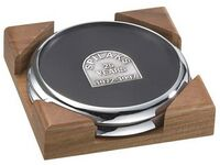 2 Round Solid Chrome Coasters w/Solid Walnut Wood Square Holder