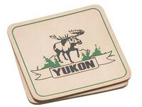 Set of 2 Square Natural Leather Coasters