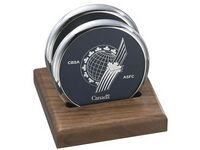 2 Round Solid Chrome Coasters w/Solid Walnut Wood Flat Stand