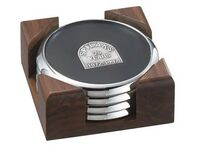 4 Round Solid Chrome Coasters w/Solid Walnut Wood Square Stand