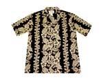 Custom Black Hawaiian Cotton Poplin Shirt w/ Button Front & Short Sleeves