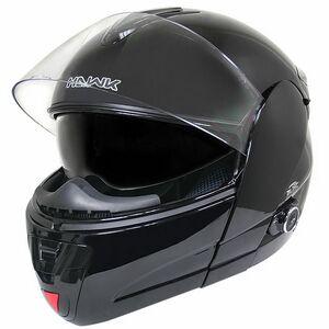 Hawk Glossy Black Dual Visor Modular Motorcycle Helmet W Bluetooth
