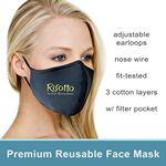 Custom Premium 3D Sure-Fitting Cotton Reusable 3 Ply Mask w/ Filter Pocket & Adj. Earloop
