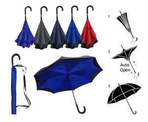 Inverted / Reversed Double Layer Auto Open Straight Umbrella with Curved Leather Handle