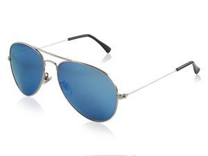 NYX Eyewear Made-in-Italy Osprey - Silver Handcrafted Metal Aviator with blue mirror lens Sunglasses