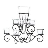 Scrollwork Candle Stand w/Vase