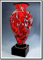 "Montserrat Flame Art Glass Vase w/o Marble Base (3.75""x6"")"