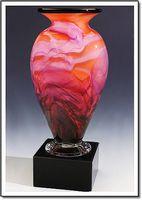 "Rainbow Sherbet Mercury Art Glass Vase w/o Marble Base (3.75""x6"")"