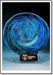 Custom Aqua Art Glass Rondelle w/ Stand (9