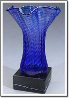 "Blue Scallop Art Glass Vase w/ Marble Base (5""x7.5"")"