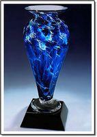 "Midnight Tempest Athena Art Glass Vase w/o Marble Base (3.25""x6"")"