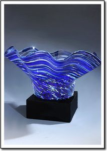Midnight Tempest Art Glass Bowl w/ Marble Base (6.5x5)