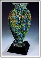 "Jade Glen Mercury Art Glass Vase w/o Marble Base (3.75""x6"")"