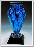 "Electric Blue Athena Art Glass Vase w/o Marble Base (3.75""x6"")"