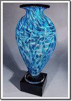 "Tropic Rain Mercury Art Glass Vase w/o Marble Base (3.75""x6"")"