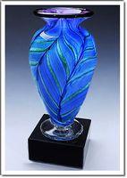 "Blue Hyacinth Athena Art Glass Vase w/o Marble Base (3.75""x6"")"