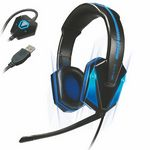 Custom Enhance GX-H1 PC Gaming Headset w/ Virtual 7.1 Surround Sound, Blue LED's & In Line Volume Control