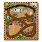 Custom Melissa & Doug Round the Construction Zone Work Site Rug & Site Vehicles w/Traffic Signs
