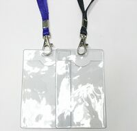 "Clear Vertical Vinyl Badge Holder with Lanyard (3""x4"")"
