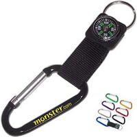 Aluminum Carabiner with Compass - 8 Cm