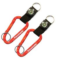 Red Camouflage Carabiner and Compass w/ Split Ring