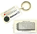 Compass Key Tag with Thermometer & Wind Chill Chart