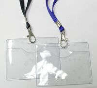 "Clear Vinyl Horizontal Badge Holder with Lanyard (3 1/2""x2 1/2"")"