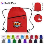 Custom Non-Woven Sports Drawstring Bag with Front Zipper