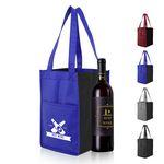 Custom Non Woven 4 Bottle Wine Tote Bag