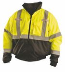 Custom 3-In-1 High Visibility Black Bottom Bomber Jacket w/Removable Fleece Liner