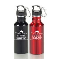 20 Oz. Wide Mouth Aluminum Water Bottle w/ Carabiner, BPA Free (10 weeks)