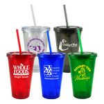 Custom 16 Oz. Double Wall Acrylic Cups w/ Matching Straw And Gift Box (45 Days)