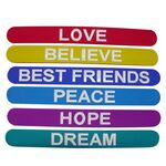 Custom Solid Color Silicone Slap Bracelet with inner steel strip; Silkscreened; Size Large 9.44
