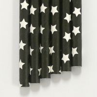"Paper Straws Black White Stars Pattern - 7.70"" x .25"" Biodegradable"