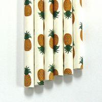 "Paper Straws Pineapple Pattern - 7.70"" x .25"" Biodegradable"