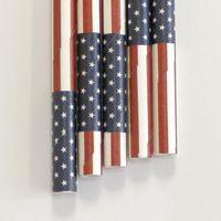 "Paper Straws US Flag Pattern - 7.70"" x .25"" Biodegradable"