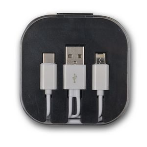 3 in 1 Micro/TypeC/Lightning Charging Cable w/ Case & Stand