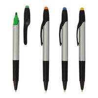 Highlighter With Ballpoint Pen and Stylus Cap