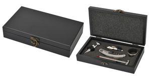 Five Piece Wine Opener Set W/Black Wood Case